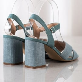 Sandały Na Obcasie VINCEZA niebieskie zielone 1