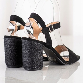 Sandałki Z Plecionym Obcasem VINCEZA czarne 1