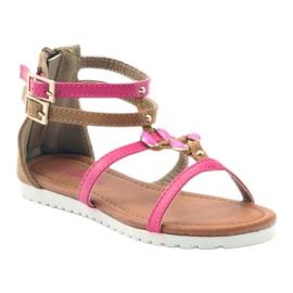 American Club Sandałki gladiatorki buty dziecięce na  suwak American różowe 1