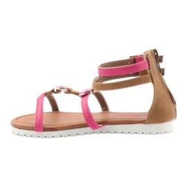 American Club Sandałki gladiatorki buty dziecięce na  suwak American różowe 2