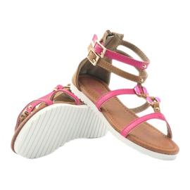 American Club Sandałki gladiatorki buty dziecięce na  suwak American różowe 3