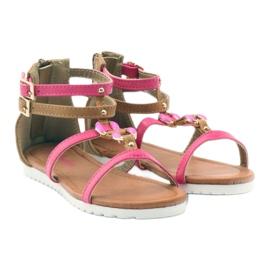 American Club Sandałki gladiatorki buty dziecięce na  suwak American różowe 4
