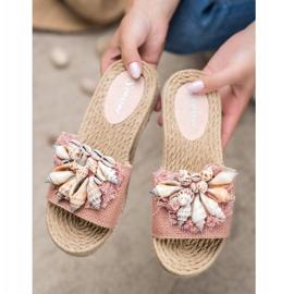 Seastar Modne Klapki Z Muszelkami różowe 1