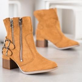 Bella Paris Camelowe Botki Fashion brązowe wielokolorowe 1