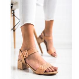 Kylie Plecione Sandałki Na Obcasie brązowe 3