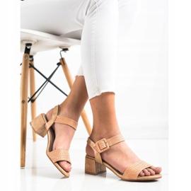 Kylie Plecione Sandałki Na Obcasie brązowe 4