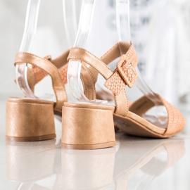 Kylie Plecione Sandałki Na Obcasie brązowe 1