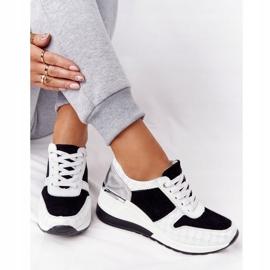 Skórzane Sneakersy Na Koturnie S.Barski Czarno-Białe czarne 6