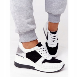 Skórzane Sneakersy Na Koturnie S.Barski Czarno-Białe czarne 3