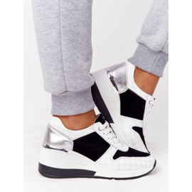 Skórzane Sneakersy Na Koturnie S.Barski Czarno-Białe czarne 2