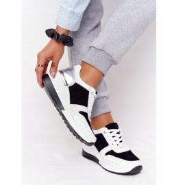 Skórzane Sneakersy Na Koturnie S.Barski Czarno-Białe czarne 1
