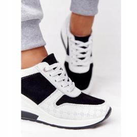 Skórzane Sneakersy Na Koturnie S.Barski Czarno-Białe czarne 4