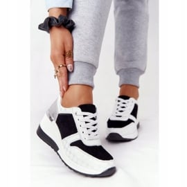 Skórzane Sneakersy Na Koturnie S.Barski Czarno-Białe czarne 5