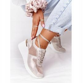 Skórzane Sneakersy Na Koturnie Z Siateczką S.Barski Złote złoty 1