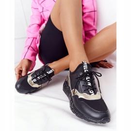 Skórzane Sneakersy Na Koturnie S.Barski Czarno-Złote czarne złoty 6