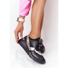 Skórzane Sneakersy Na Koturnie S.Barski Czarno-Złote czarne złoty 3
