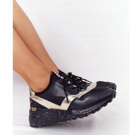 Skórzane Sneakersy Na Koturnie S.Barski Czarno-Złote czarne złoty 1
