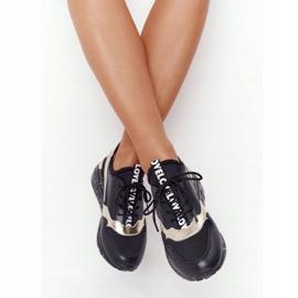 Skórzane Sneakersy Na Koturnie S.Barski Czarno-Złote czarne złoty 2