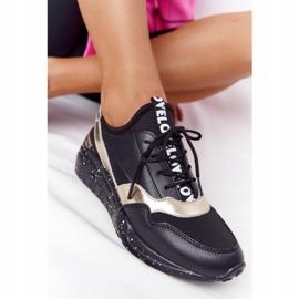 Skórzane Sneakersy Na Koturnie S.Barski Czarno-Złote czarne złoty 5