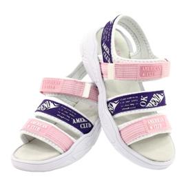 American Club Sandały Sportowe Wkładka Skórzana RL29/21 Pink-Purple białe fioletowe różowe 3
