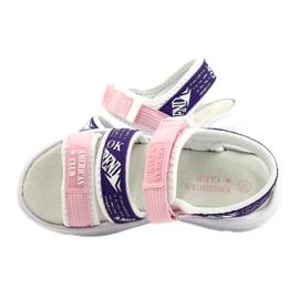 American Club Sandały Sportowe Wkładka Skórzana RL29/21 Pink-Purple białe fioletowe różowe 4