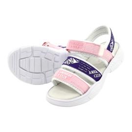American Club Sandały Sportowe Wkładka Skórzana RL29/21 Pink-Purple białe fioletowe różowe 2