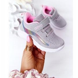 Dziecięce Sportowe Buty Sneakersy Szare Ready Go! różowe wielokolorowe 3