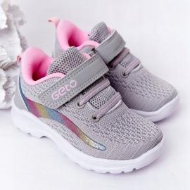 Dziecięce Sportowe Buty Sneakersy Szare Ready Go! różowe wielokolorowe 2