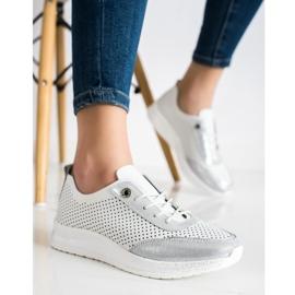 Goodin Biało-srebrne Sneakersy Ze Skóry białe 2