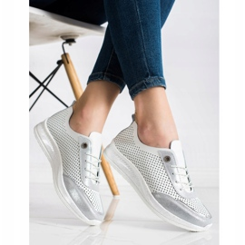 Goodin Biało-srebrne Sneakersy Ze Skóry białe 3