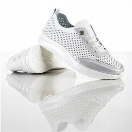 Goodin Biało-srebrne Sneakersy Ze Skóry białe 1