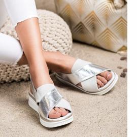Komfortowe sandały na platformie Sergio Leone SK029 srebrny szare 2