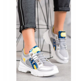 Bella Paris Sneakersy Z Siateczką Fashion szare wielokolorowe 1