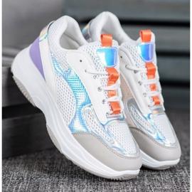Bona Białe Sneakersy Z Siateczką fioletowe szare wielokolorowe 1