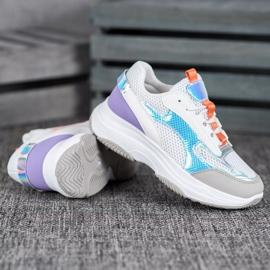 Bona Białe Sneakersy Z Siateczką fioletowe szare wielokolorowe 2