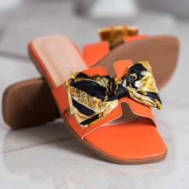 SHELOVET Eleganckie Klapki pomarańczowe 3