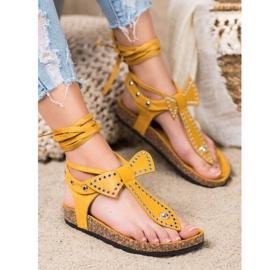 Seastar Wiązane Sandały Japonki żółte 1