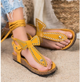 Seastar Wiązane Sandały Japonki żółte 2