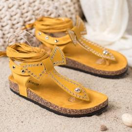 Seastar Wiązane Sandały Japonki żółte 3