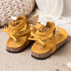 Seastar Wiązane Sandały Japonki żółte 4
