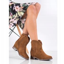Ideal Shoes Modne Brązowe Kowbojki 1