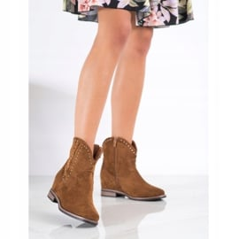 Ideal Shoes Modne Brązowe Kowbojki 4