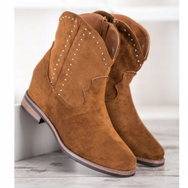 Ideal Shoes Modne Brązowe Kowbojki 2