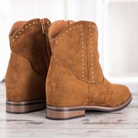 Ideal Shoes Modne Brązowe Kowbojki 3