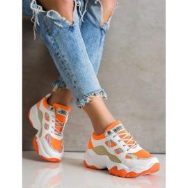 SHELOVET Sznurowane Sneakersy Fashion białe pomarańczowe wielokolorowe 1