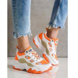 SHELOVET Sznurowane Sneakersy Fashion białe pomarańczowe wielokolorowe 2
