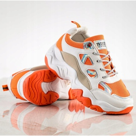 SHELOVET Sznurowane Sneakersy Fashion białe pomarańczowe wielokolorowe 3