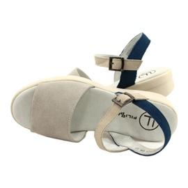 Wygodne Sandały Skóra Filippo DS2021/21 GR niebieskie szare 3