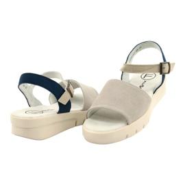 Wygodne Sandały Skóra Filippo DS2021/21 GR niebieskie szare 2