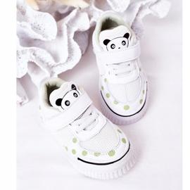 Apawwa Dziecięce Sportowe Buty Z Pandą Biało-Zielone Chico białe 6